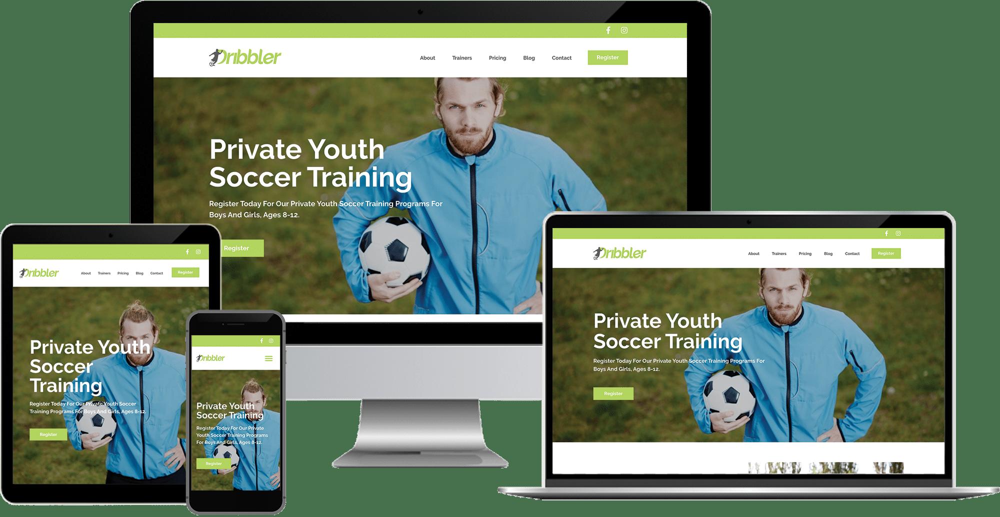 soccer training company wordpress elementor web design