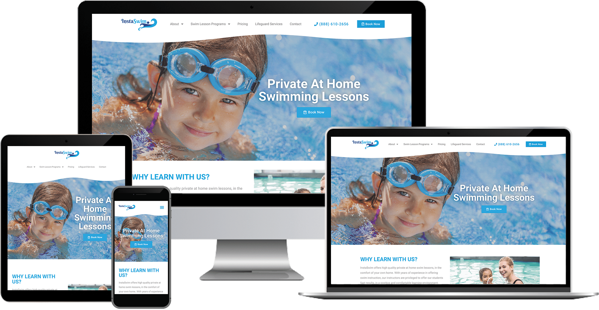 swim lesson company wordpress elementor web design