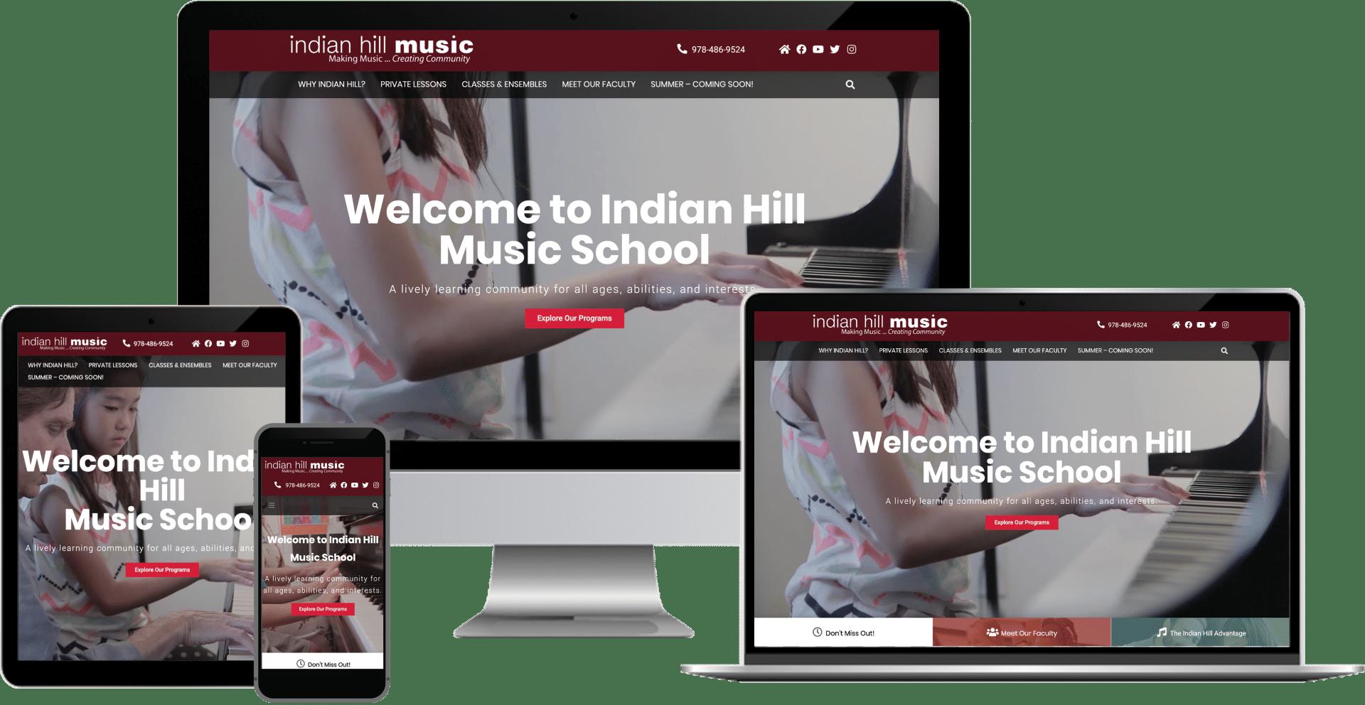 indian hill music school wordpress elementor web design