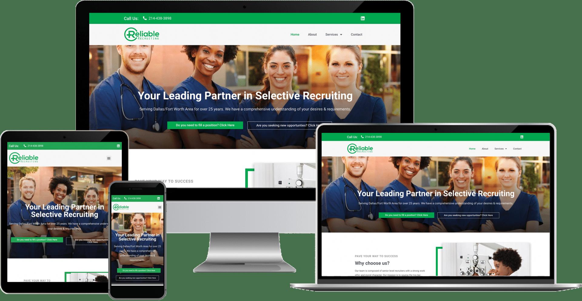 medical recruiting wordpress elementor web design